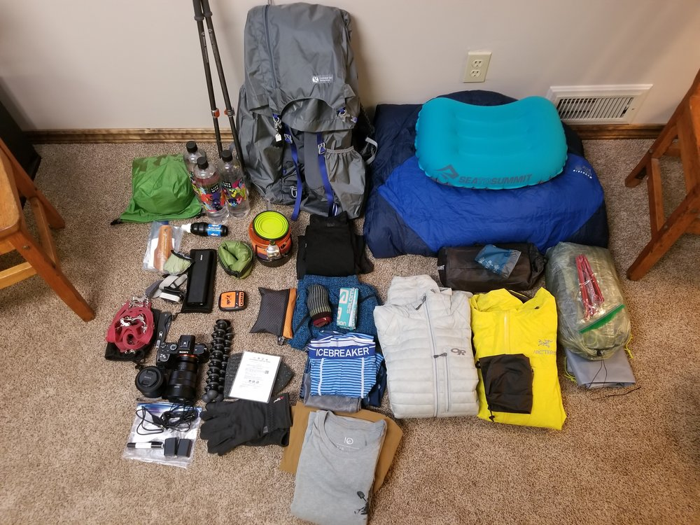 Everything I will use to live for 5 months on trail