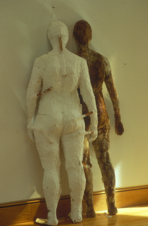 """I DON'T ALWAYS GET THERE  1994  Wax, plaster, wood, moss, rattan, synthetic felt, 35"""" W x 37"""" H x 10"""" D."""