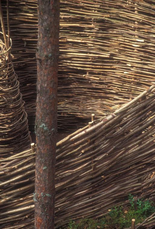 Detail of woven hazelnut walls.