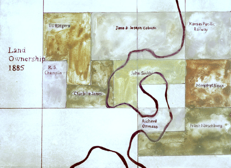 "Detail, map of land ownership 1885, drawn with soil collected on site, 8 x 10"" on ""Clayboard""."