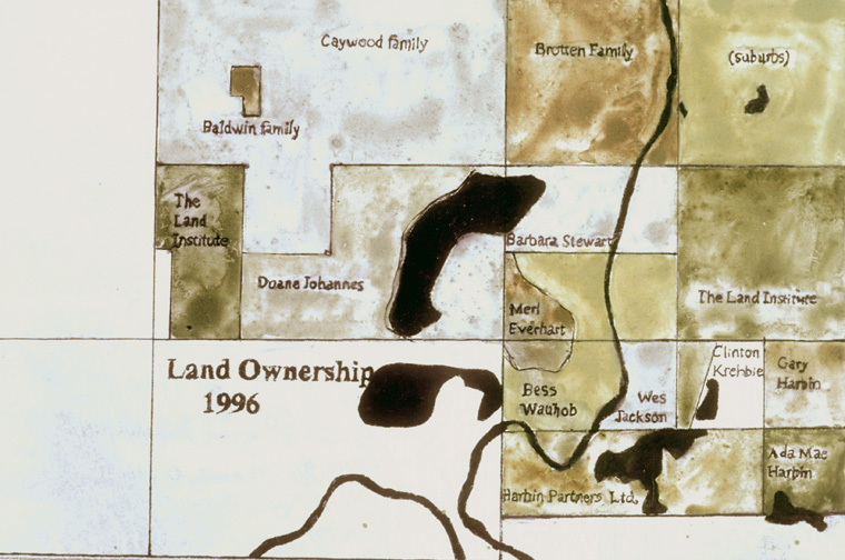 "Detail, map of land ownership 1996, drawn with soil collected on site, 8 x 10"" on ""Clayboard""."