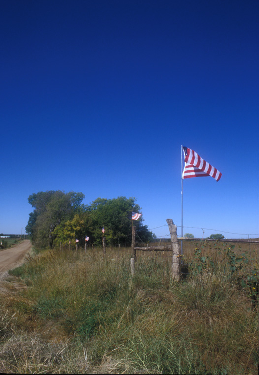 Flags, 24' T on fence rows, one mile x one mile.