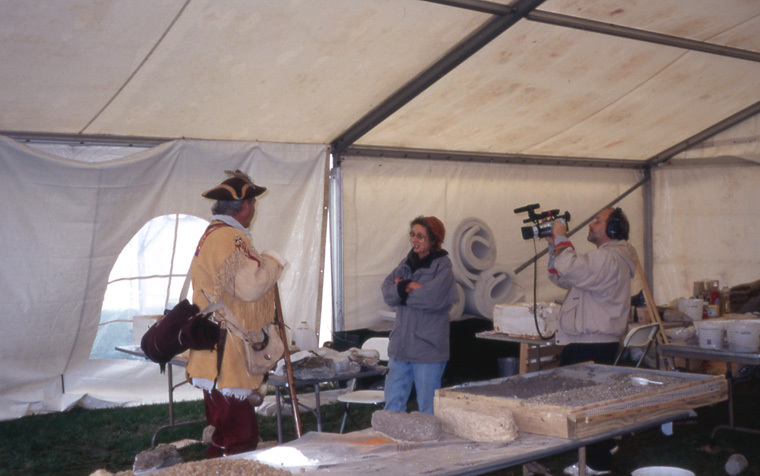 With choreographer Melli Hoppe, Detail of tent interior. Detail of tent interior, McCoy center, with re-enactor and vidographer, 2003