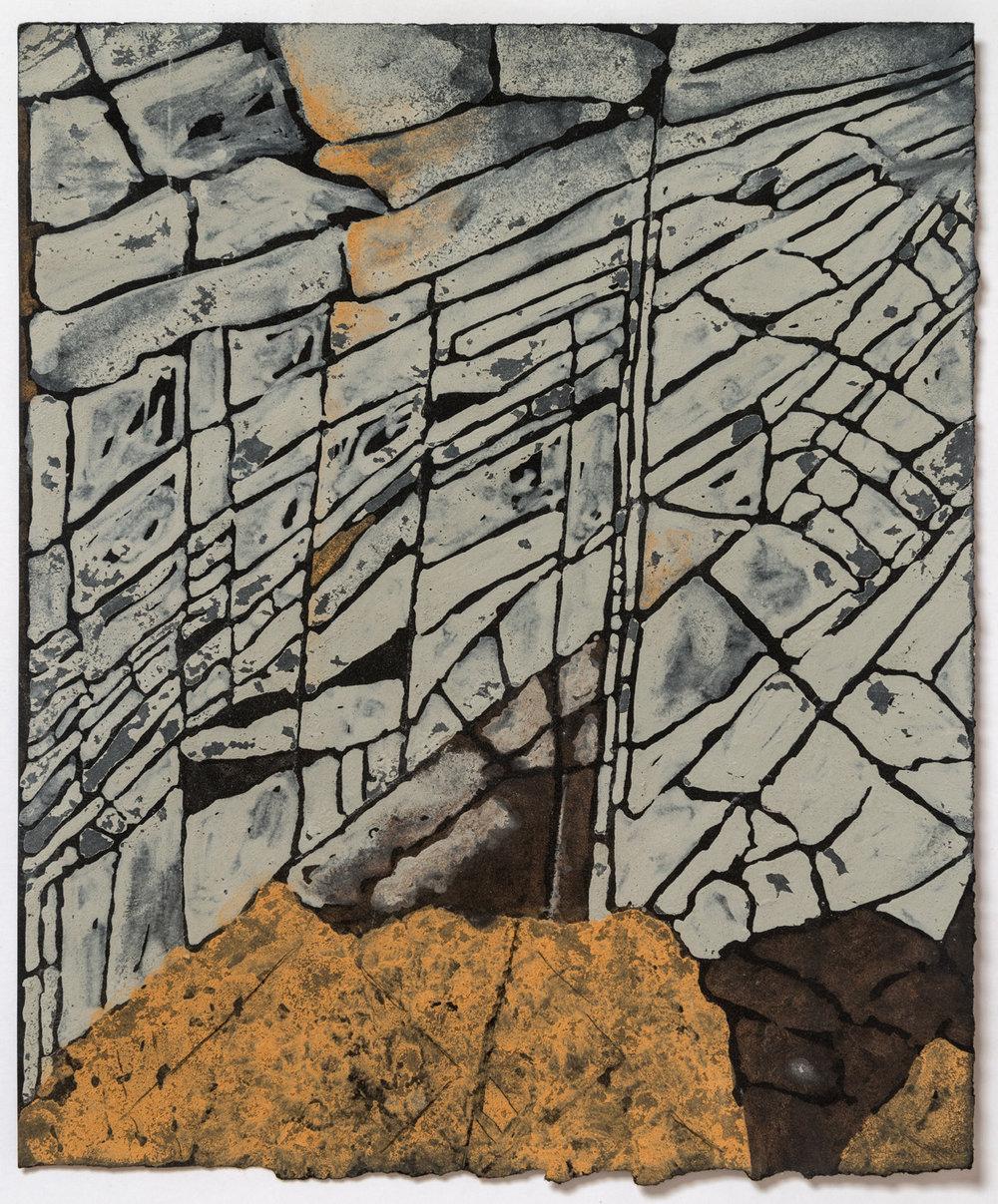 """Rocks at Ship Harbor (orange and green 2009  10 x 12"""""""