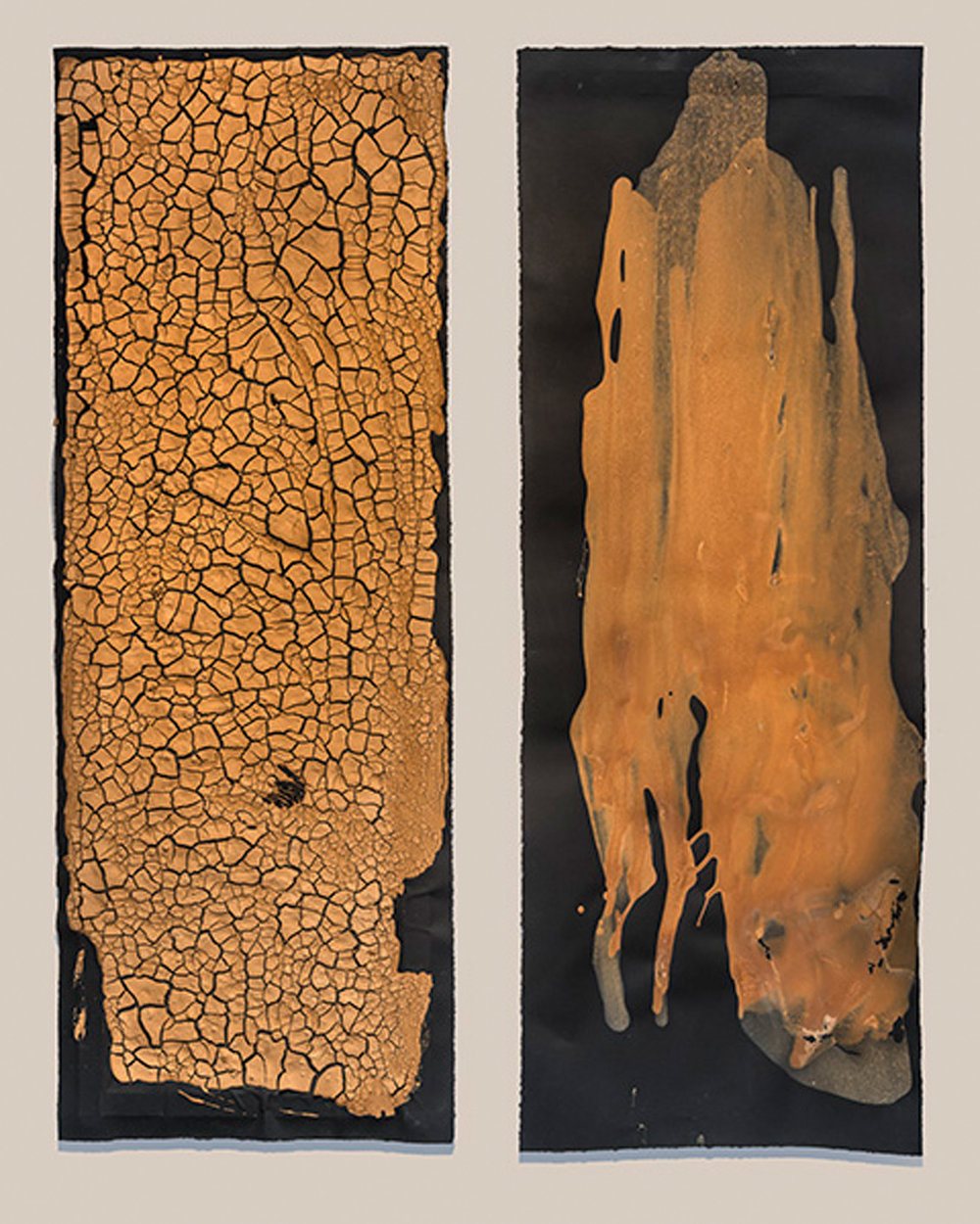"Dyptch:  California/ Colorado   Left -  California , 2015, egg tempera paste with found earth pigments, 63 x 23"".  Right -   Colorado , 2015, egg tempera found earth pigments, 63 x 23"""