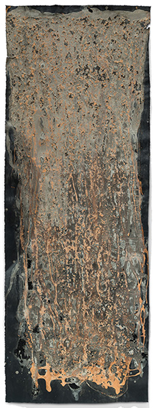"Red Gray Landslide   2015, sanded egg tempera with found earth pigments, 62.5"" x 22.75"""