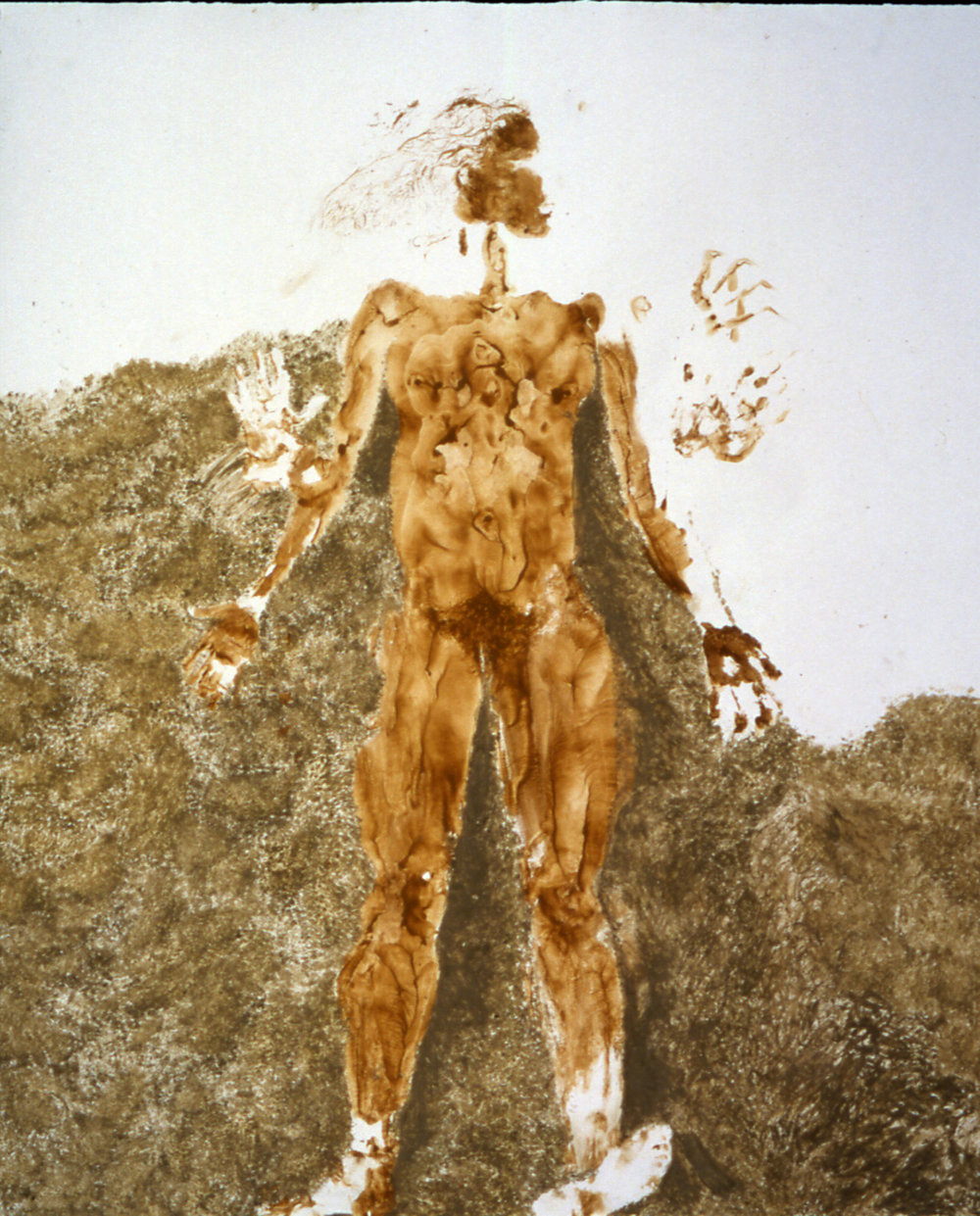 "Stuck 2001  Body print with Kansas City clay and pigment on paper, 5' 5"" x 6'"