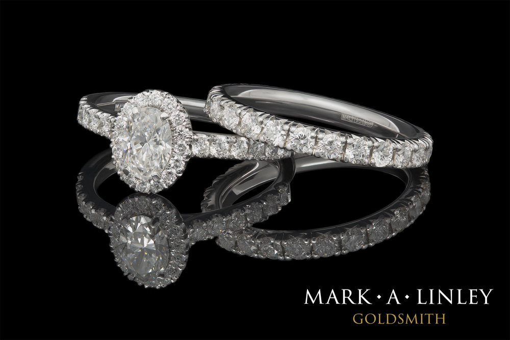 Diamond halo engagement ring & eternity ring