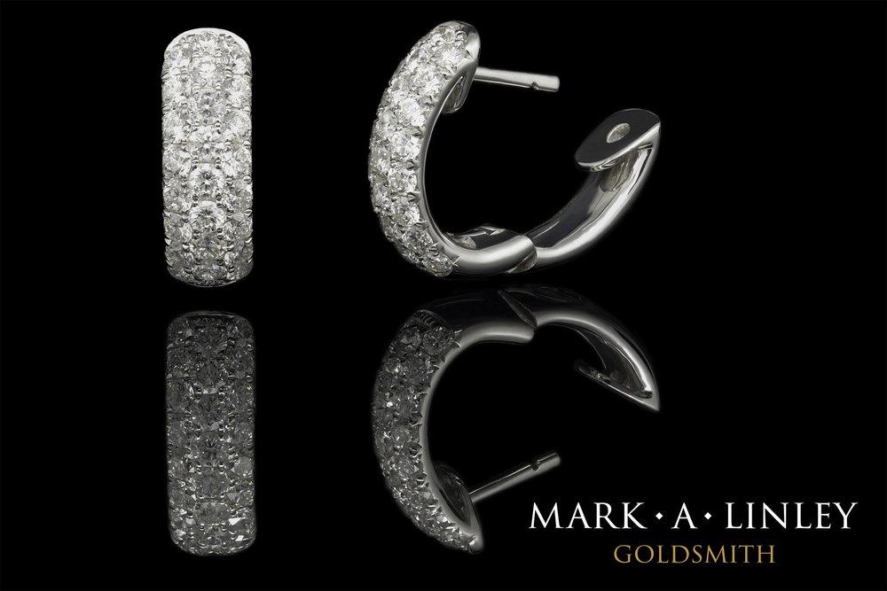 18ct white diamond hoop earrings