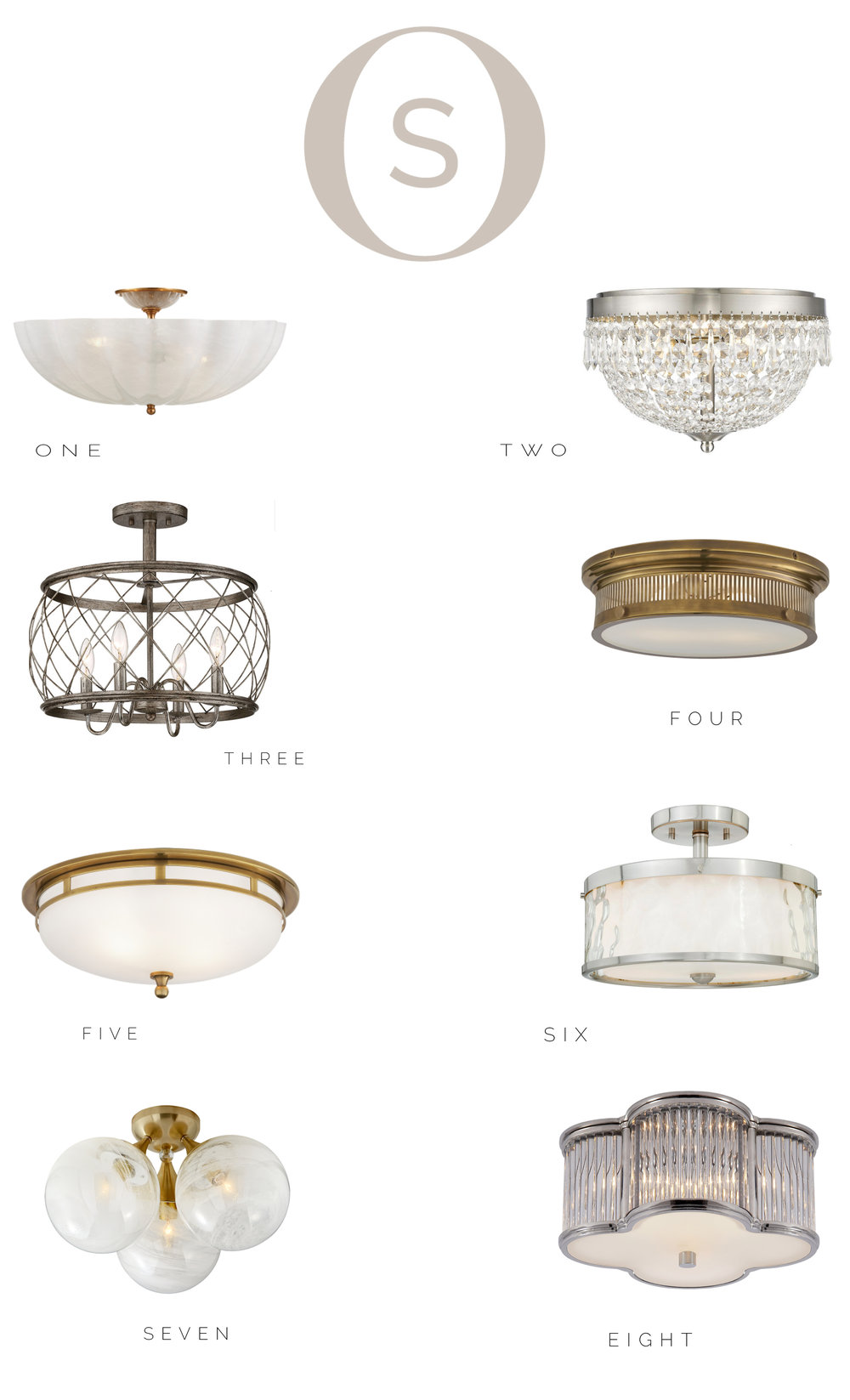 Flush and semi-flush mount lighting options.