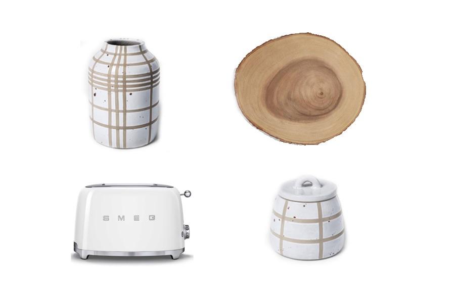 Vase  |  Wood Platter  |  Smeg Toaster  |  Canister