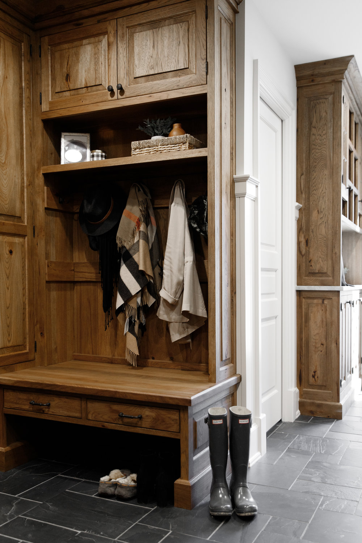 Casual mudroom with storage organization