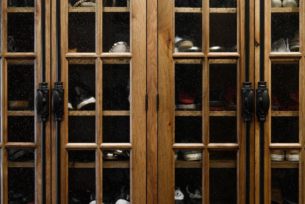 Shoes storage in mudroom