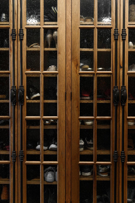 Shoe organization in mudroom
