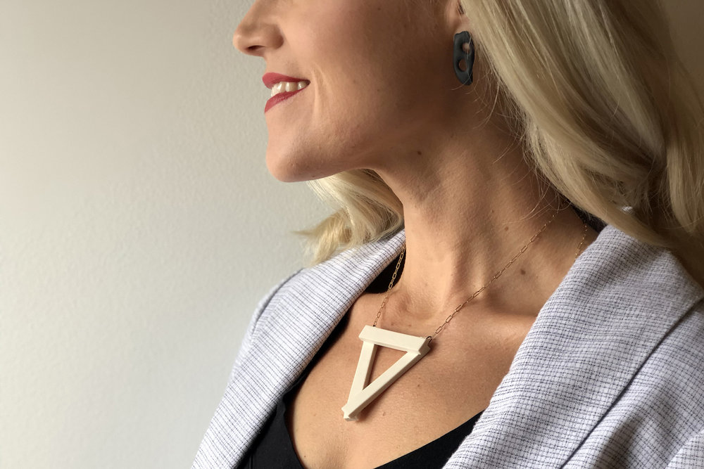 Porcelain Earrings , 2017 Jessica Thompson-Lee   Cream & Gold Triangle Pendant , 2017 Cydney Ross