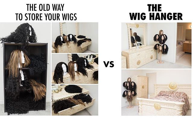 🧐 The OLD way to store your wigs 😳🤦🏽‍♀️ Vs The Wig Hanger 👏🏽🙌🏽😍 with the Wig Hanger it's the BETTER way to store your wigs! Stop storing them in drawers or dressers or styrofoam heads, why not hang them all neatly in one place while maintaining the style and integrity of your units? Order yours today! Link in bio! 💫 | Also tell us down below where you usually store your wigs?? #Wigs #LaceWigs #FrontLaceWigs #WigHanger #Love #PhotoOfTheDay #Follow #Wigs #LacefrontWigs #FullLaceWig #HumanHair