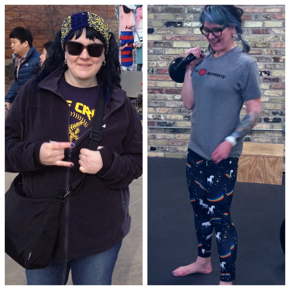 """Then and now: Karen lost ~130 lbs. and found confidence and real wellness. The PurpleROBOT Network is Karen's way of """"PAYING IT FORWARD."""""""