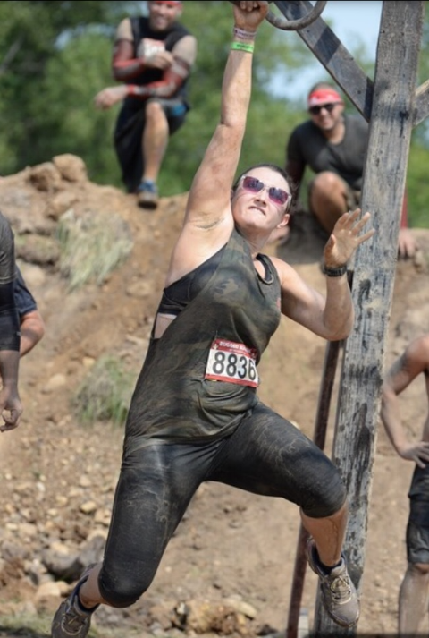Nicole achieves ROBOT Level strength at the Rugged Maniac Race.