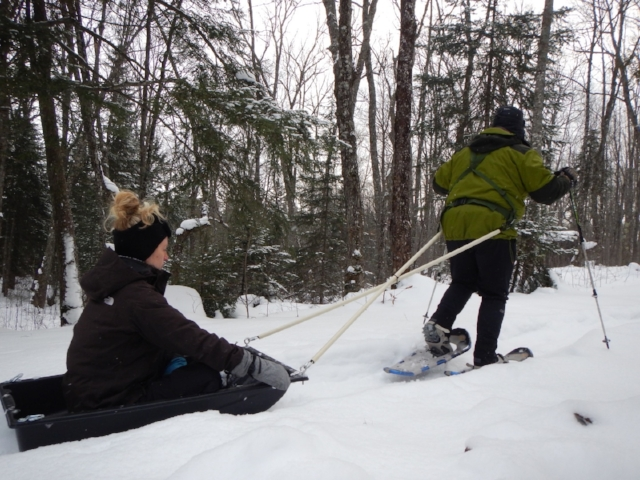 Beardy and Jenn make training fun!  Testing out the hand crafted sled & snowshoe gear in preparation for an epic trek.