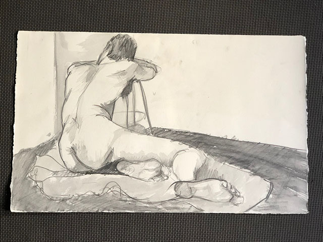"Figure Drawing, Untitled.  Graphite on Paper.  By James ""Beardy"" Gasparick."