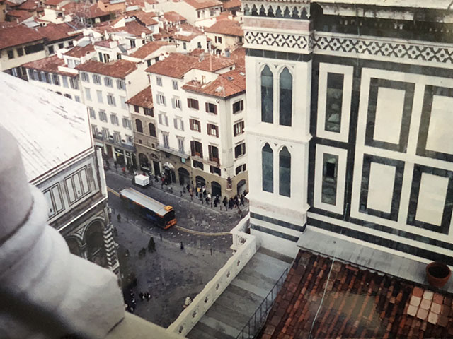 "View from Giotto's Campanile - Florence, Italy - 1999.  Upon the death in 1302 of Arnolfo di Cambio, Giotto di Bondone was named the ""architect"" in 1334.  Giotto died in 1337 and never got to see this view from the top.  Photo by Karen Gasparick."
