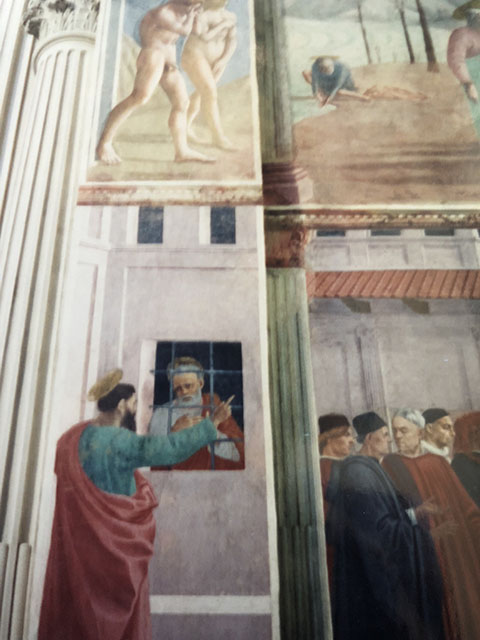 St. Paul Visiting St. Peter in Prison by Filippino Lippi - Brancacci Chapel - Florence, Italy.  Michelangelo studied these works as a student.  We are all beginners at some point.  Photo by Karen Gasparick 1999.