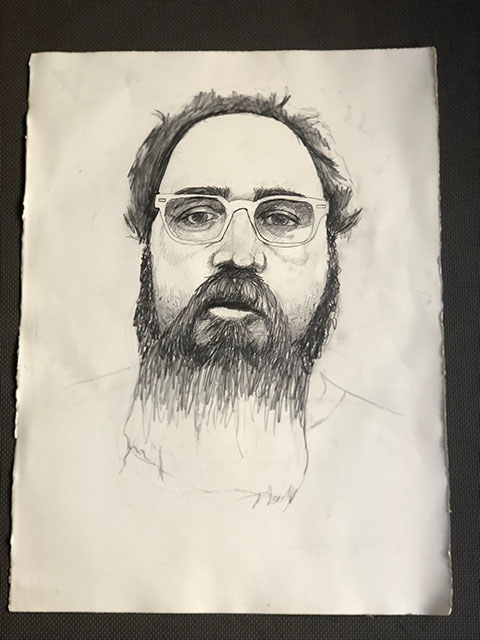 "Self Portrait.  Graphite on Paper.  By James ""Beardy"" Gasparick."