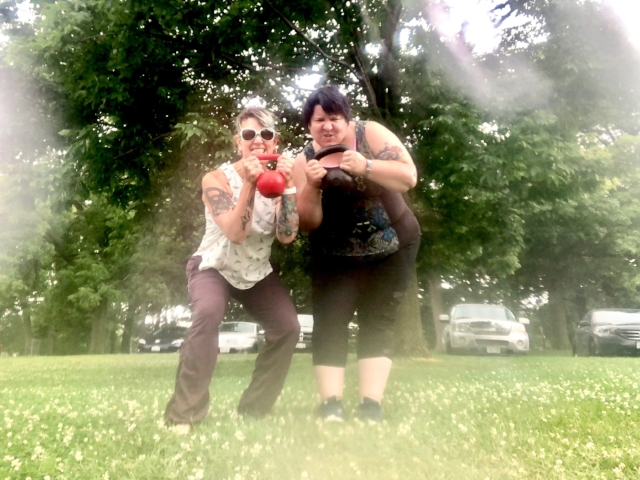 Karen and Crystal harness the power of nature!  They're practicing strength training in the rain at South Shore Park and  UPGRADING SUPER ROBOT POWERS!    Beautiful South Shore Park is  also  the location of the  South Shore Farmers Market  where most of the ingredients for this food adventure were acquired!  #ShopLocal