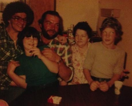My mom, me, Uncle Jim, Grandma Gerber & cousin Shane (1980 something)