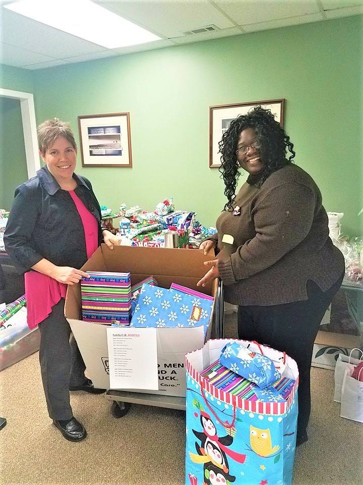 Turning Point would like to say thanks to  Mount Olive Missionary Baptist Church  of Gallion, Alabama for adopting a family. Thank you.. Below is a picture of our Rural Counties Sexual Assault Counselor, Belinda Kock and Portia our Outreach Coordinator with the gifts for the adopted family.