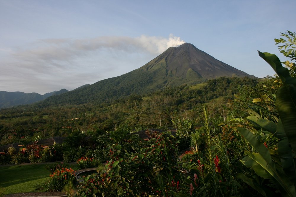 The Arenal volcano produces naturally flowing thermal mineral springs.