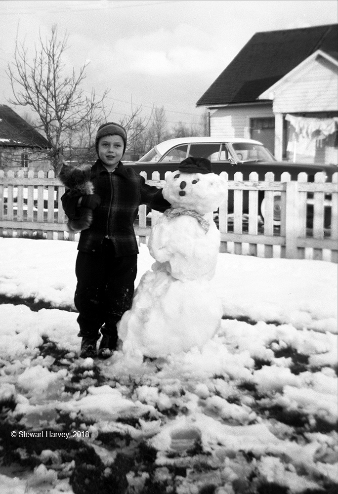 Larry and snowman, 1953