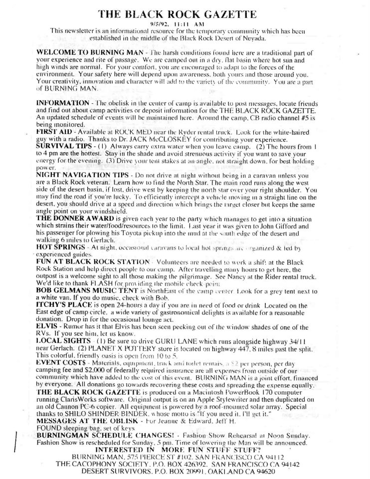 The 1992 Black Rock Gazette, including requests for $2 per day contribution