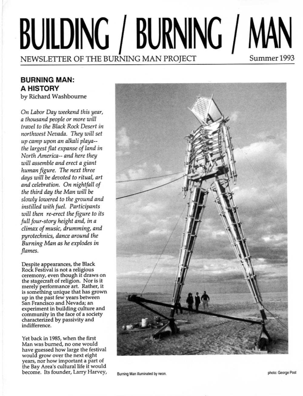 1993 Building Burning Man Magazine - $40 donation described