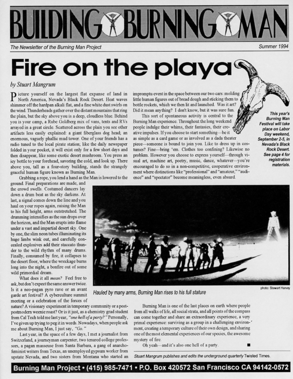 The 2nd Building Burning Man, featuring an interview of Larry Harvey by Larry Harvey (using his pen name)