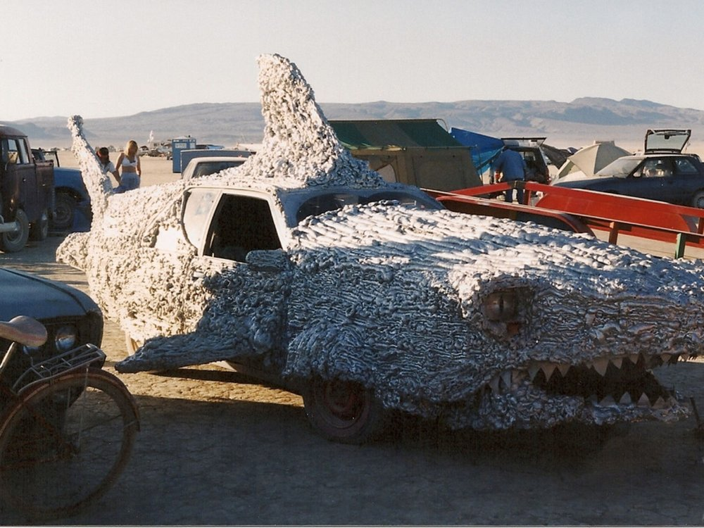 Art Cars at Burning Man 1994. Tom Kennedy's Ripper the Friendly Shark pictured