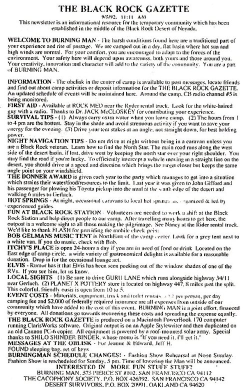 The First Black Rock Gazette