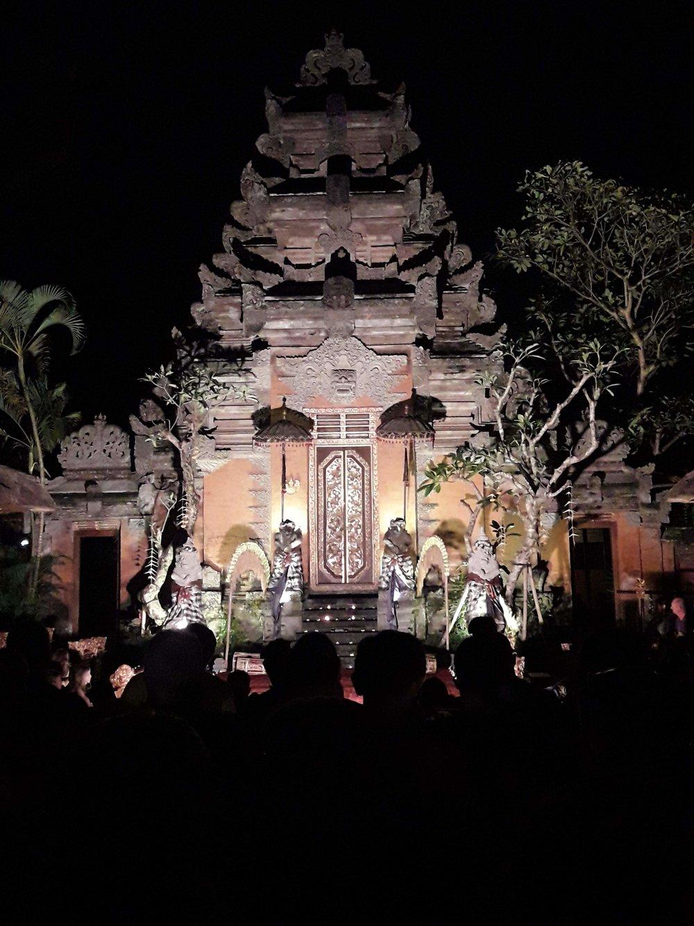 Ubud Palace no momento da apresentação de dança típica de Bali