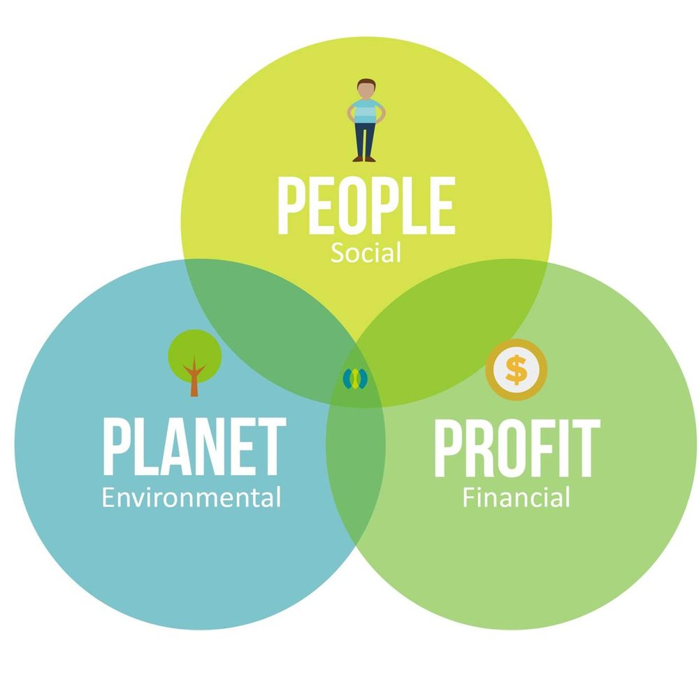 Elaborating on the Triple Bottom Line - There are 3 components that make up the triple bottom line: social, environmental, and economic.Social: Variables dealing with community, education, social resources and equity, health, quality of lifeEnvironmental: Variables dealing with natural resources, pollution, energy conservation, wildlife protectionEconomic: Variables dealing with cash flow, GDP, development, global equityEach of these topics influences the ability for a community to achieve sustainable living.