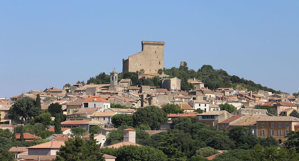 The village of Chateauneuf, with the Papal palace at the crest of the hill.