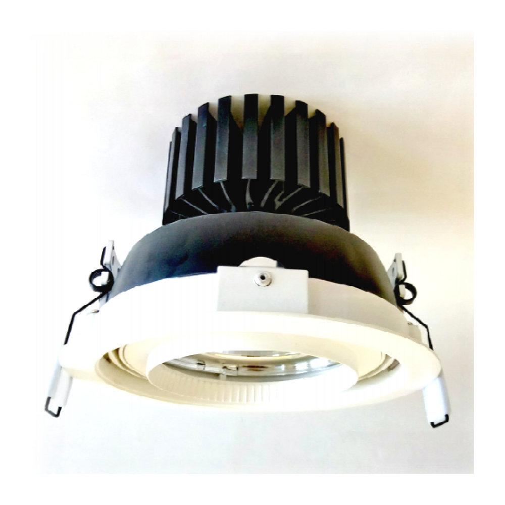 BREDA 6000 - Downlight - Faro orientabile da interni per installazione ad incasso. Realizzato in alluminio pressofuso e verniciato a polvere bianco o nero.Sistema di fissaggio a pannello tramite una coppia di molle. Led raffreddato passivamente con dissipatore in alluminio anodizzato nero. Disponibile in temperatura 3000K, 4000K e 5000K e con ottica da 25 a 40 gradi. Led ad alta efficienza energetica. Disponibile con CRI ≥ 93 . Prodotto fornito con alimentatore. I dati indicati sono valori caratteristici per una temperatura ambiente di 25°C. I dati relativi al flusso luminoso sono soggetti ad una tolleranza del +/- 5%