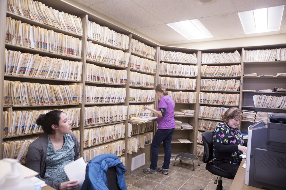 Paper files at the Magrath Clinic will soon be replaced by an Electronic Medical Record system.