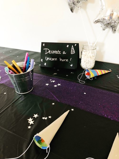 Just one of the fun art stations at our Unicorns in Space party!