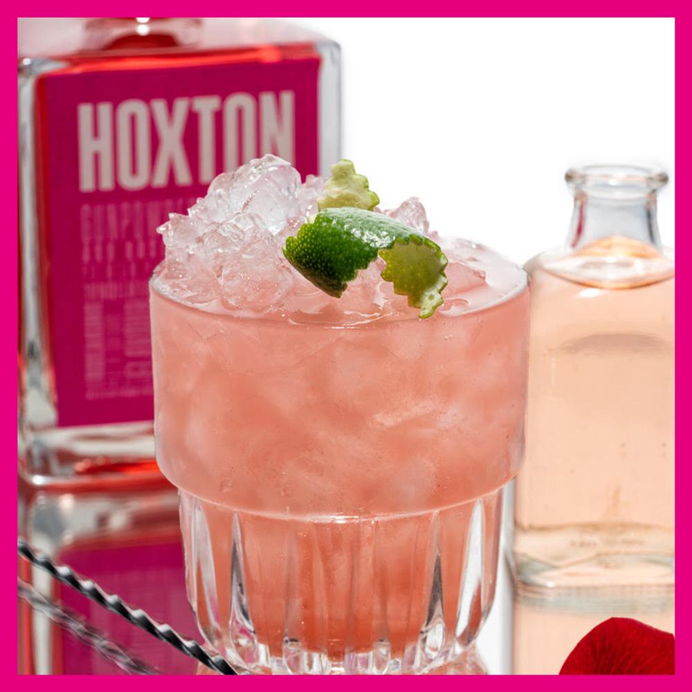 HOXTON BRAMBLE - 50ml Hoxton Pink.25ml lemon juice.15ml sugar syrup.Top with 15ml of rose liqueur.
