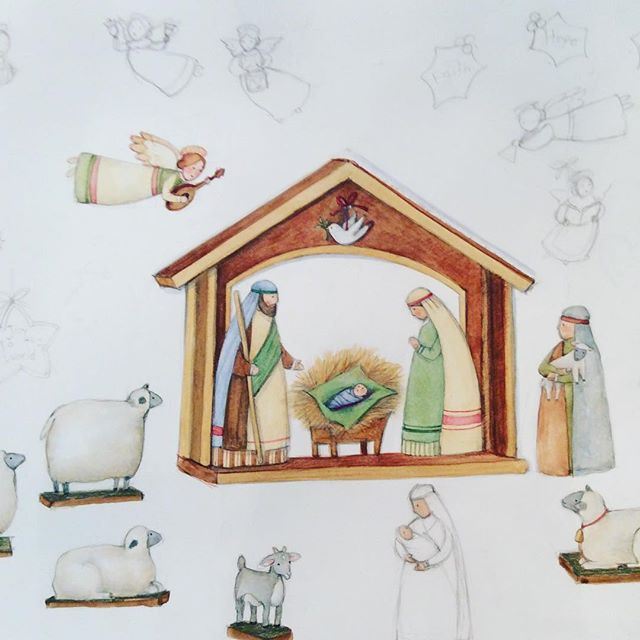 #Nativity sketch because it's #TheMostWonderfulTimeOfTheYear! #susanwinget #manger #christmastime #christmas #thereasonfortheseason #babyjesus