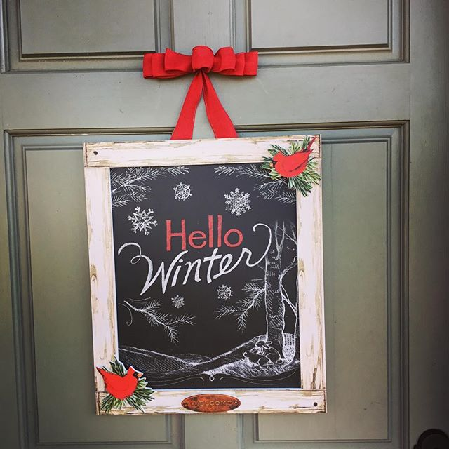 """Hello Winter"" indeed!!! It's FREEZING over here in Charlotte!!! But alas, not a flake of snow to be seen 😞 This Door sign from @studiomoutdoor is perfect for days like this!! What's the temp where YOU are?? #susanwinget #studiom #doordecor #doordecoration #hellowinter #itsfreezing #wintertime #stillbeautiful"
