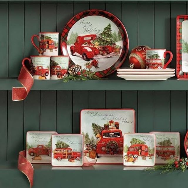 We are thrilled to have our #HolidayCottage #RedTruck dinnerware collection featured in the new @HomeDepot catalogue!! Have you seen it?? #NeverTooEarlyForChristmas #WeLoveRedTrucks #SusanWinget