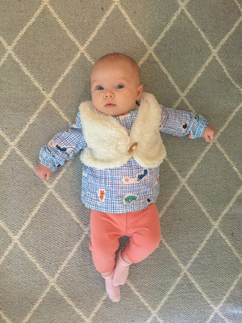 Amelia sporting a second-hand outfit.