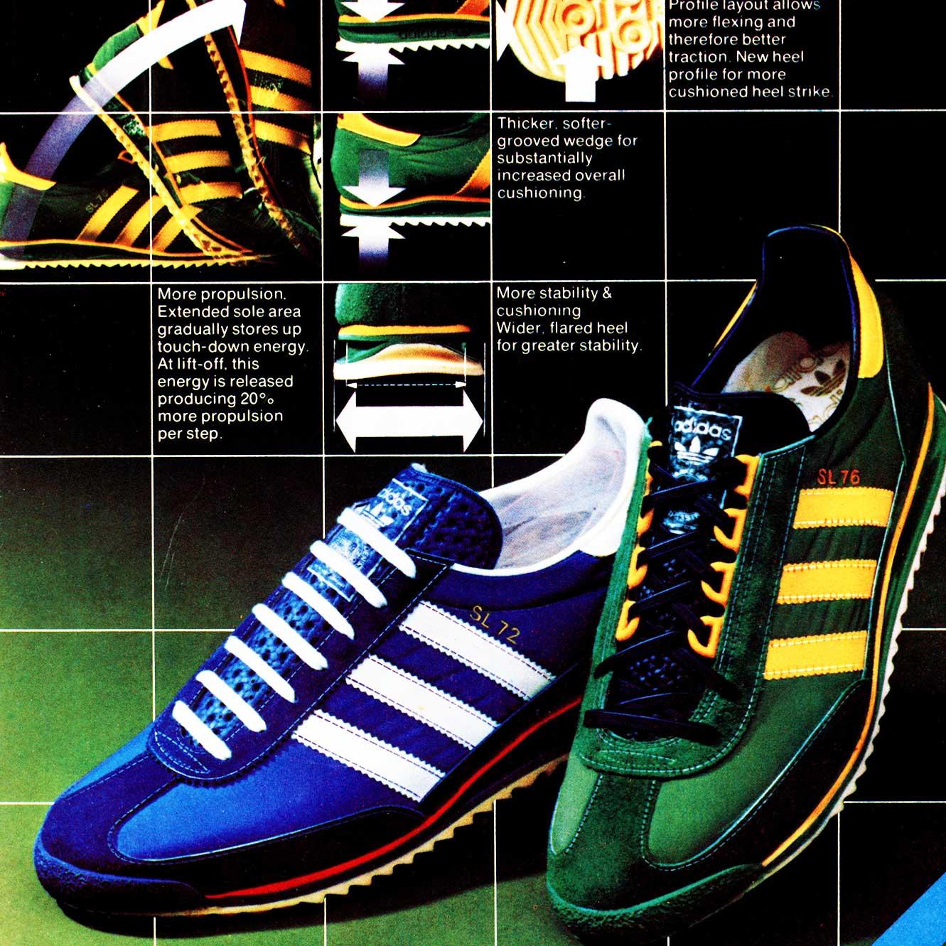 Adidas SL72 and SL76 vintage sneaker ad