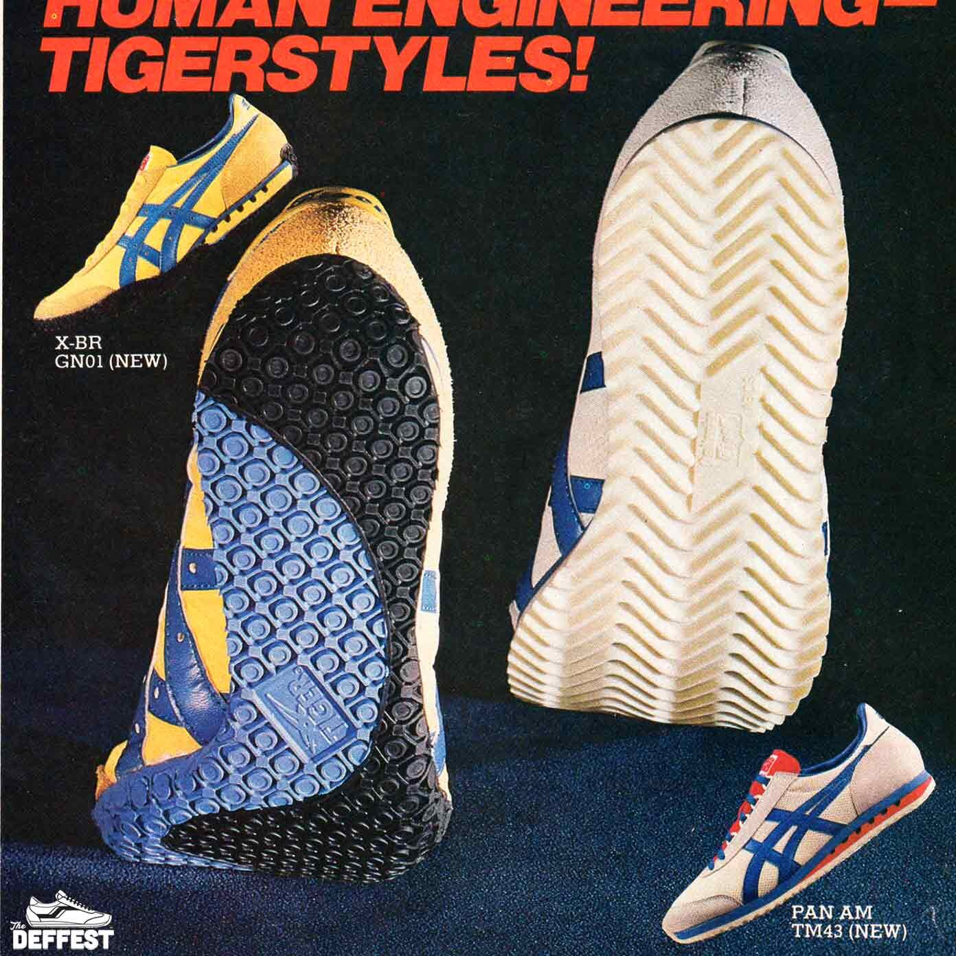 Asics 1980 Pan Am and X-BR retro sneaker ad